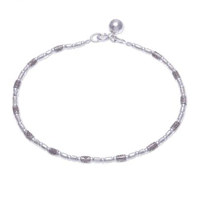 Silver beaded bracelet, 'Hill Tribe Ring' - Karen Silver Beaded Bracelet with Ringing Bell from Thailand