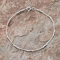 Silver beaded bracelet, 'Cute Hill Tribe' - Spiral Pattern Karen Silver Beaded Bracelet from Thailand