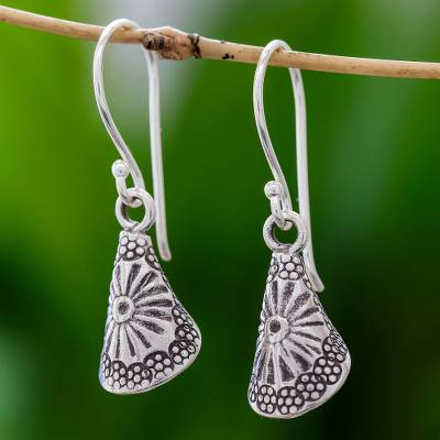 Silver dangle earrings, 'Hill Tribe Cones' - Conical Karen Silver Dangle Earrings from Thailand