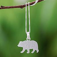 Sterling silver pendant necklace, 'Brushed Bear' - Sterling Silver Bear Pendant Necklace from Thailand