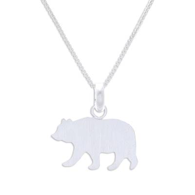 Sterling Silver Bear Pendant Necklace from Thailand