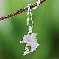 Sterling silver pendant necklace, 'Brushed Dolphin' - Sterling Silver Dolphin Pendant Necklace from Thailand