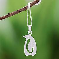 Sterling silver pendant necklace, 'Brushed Penguin' - Sterling Silver Penguin Pendant Necklace from Thailand