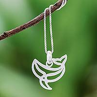 Sterling silver pendant necklace, 'Cool Whale' - Sterling Silver Whale Pendant Necklace from Thailand