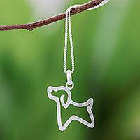 Sterling silver pendant necklace, 'Cool Puppy'