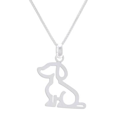 Sterling silver pendant necklace, 'Cool Dachshund' - Sterling Silver Dachshund Pendant Necklace from Thailand