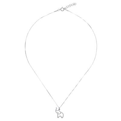Brushed-Satin Sterling Silver Elephant Pendant Necklace