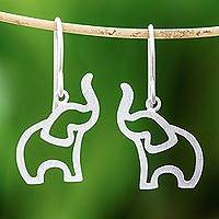 Sterling silver dangle earrings, 'Reverent Elephants' - Brushed-Satin Sterling Silver Elephant Dangle Earrings
