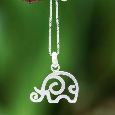 Sterling silver pendant necklace, 'Curled Ear' - Curly Sterling Silver Elephant Pendant Necklace