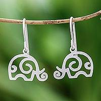 Sterling silver dangle earrings, 'Curled Ears'