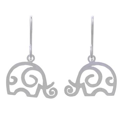 Sterling silver dangle earrings, 'Curled Ears' - Curly Sterling Silver Elephant Dangle Earrings