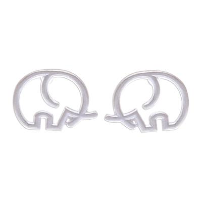 Sterling silver stud earrings, 'Cute Tusks' - Round Sterling Silver Elephant Stud Earrings from Thailand
