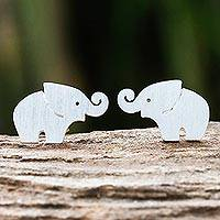 Sterling silver stud earrings, 'Curled Trunks' - Sterling Silver Elephant Stud Earrings with Curled Trunks
