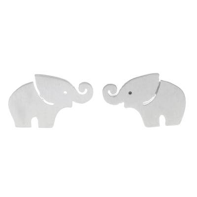 Sterling silver stud earrings, 'Curled Trunks' - Sterling Silver Elephant Stud Earrings with Curled Trunks