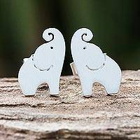 Sterling silver stud earrings, 'Singing Elephants'