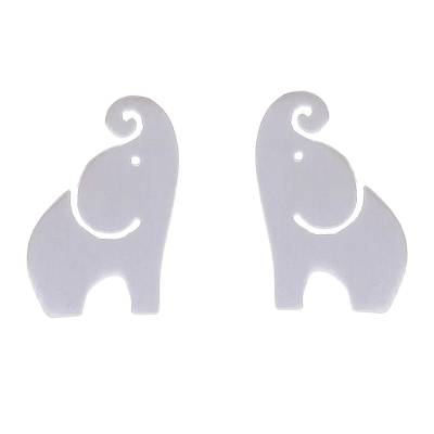 Sterling silver stud earrings, 'Singing Elephants' - Brushed-Satin Sterling Silver Elephant Stud Earrings