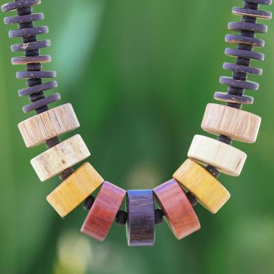 Wood beaded necklace, 'Natural Mood' - Patterned Beaded Necklace with Different Woods from Thailand