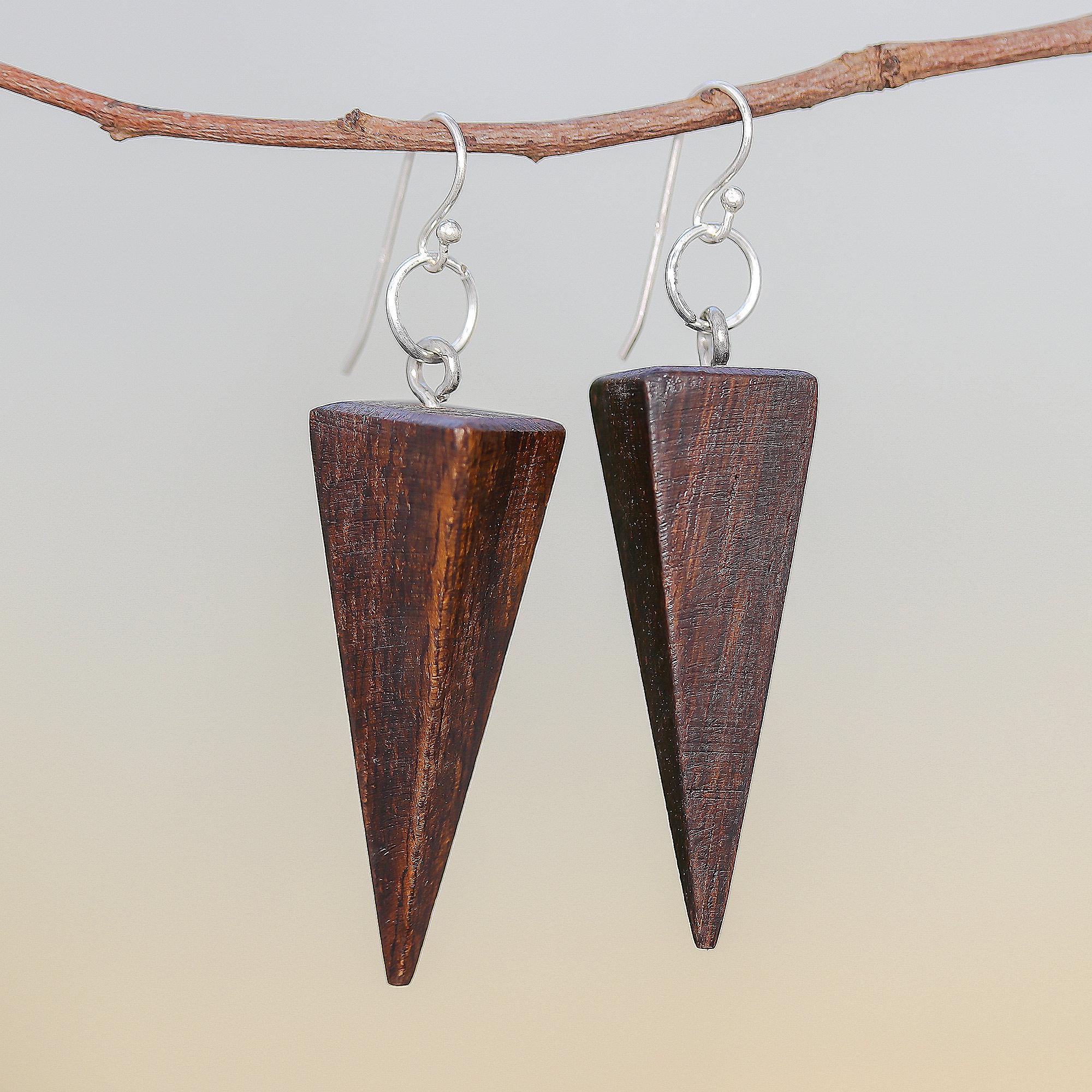 Long Wood Dangle Earrings Dark Wood Earrings Wenge Wood Jewelry