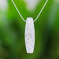 Sterling silver pendant necklace, 'Fascinating Ripples' - Modern Sterling Silver Pendant Necklace from Thailand