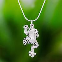 Sterling silver pendant necklace, 'Climbing Frog' - Sterling Silver Frog Pendant Necklace from Thailand