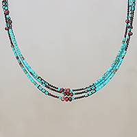 Jasper and reconstituted turquoise beaded strand necklace, 'Bohemian Ocean' - Jasper and Reconstituted Turquoise Beaded Strand Necklace