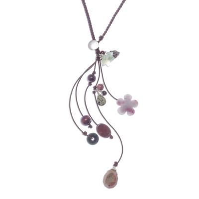 Multi-gemstone Y-necklace, 'Intriguing Flowers' - Floral Multi-Gemstone Y-Necklace from Thailand