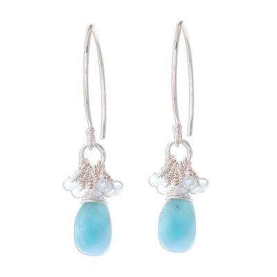 Larimar and aquamarine dangle earrings, 'Watery Life' - Larimar and Aquamarine Dangle Earrings from Thailand
