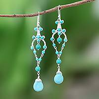 Calcite beaded dangle earrings, 'Atlantic Beauty'