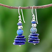 Lapis lazuli and variscite beaded dangle earrings, 'Stone Stacks' - Lapis Lazuli and Variscite Beaded Dangle Earrings