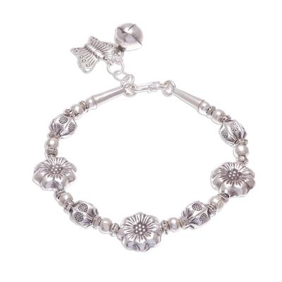 Silver beaded bracelet, 'Majestic Flowers' - Floral Karen Hill Tribe Silver Beaded Bracelet from Thailand