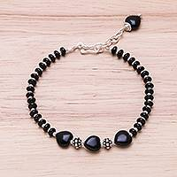 Onyx beaded bracelet, 'Midnight Love'