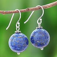 Lapis lazuli dangle earrings, 'Round Charm'