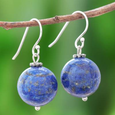 Lapis lazuli dangle earrings, 'Round Charm' - Round Lapis Lazuli Dangle Earrings from Thailand