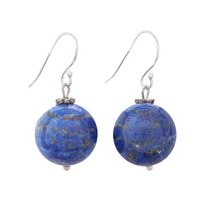 Lapis lazuli dangle earrings, 'Round Charm' - Round Lapis Lazuli Dangle Earrings from Thailand