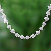 Cultured pearl beaded necklace, 'White Palace' - White Cultured Pearl Beaded Necklace from Thailand
