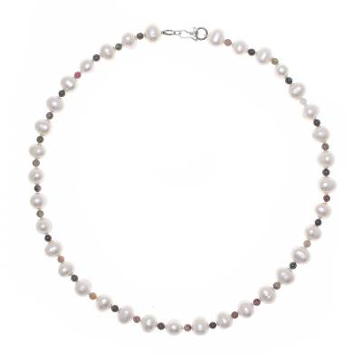 Cultured pearl and tourmaline strand necklace, 'Colorful Palace' - Cultured Pearl and Tourmaline Beaded Necklace from Thailand