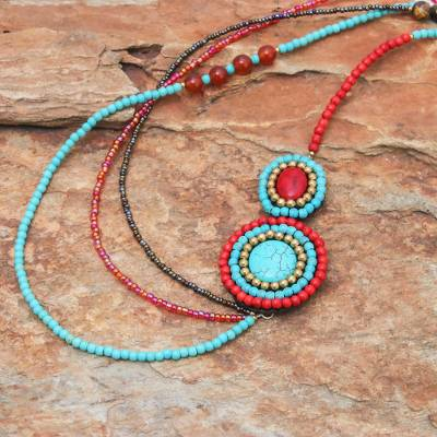 Multi-gemstone beaded strand necklace, 'Tropical Bohemian' - Multi-Gemstone Beaded Strand Pendant Necklace from Thailand