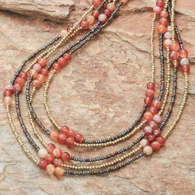 Carnelian beaded strand necklace, Boho Elegance in Red-Orange