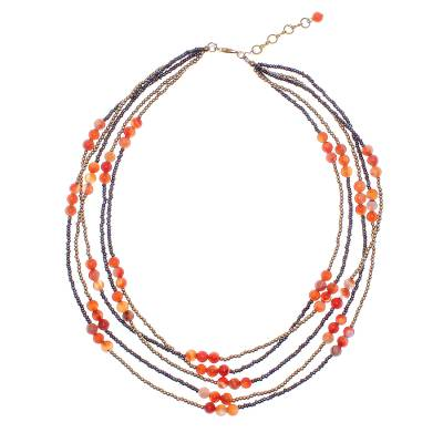 Carnelian Beaded Strand Necklace from Thailand