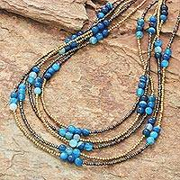 Agate beaded strand necklace, 'Boho Elegance in Blue' - Blue Agate Beaded Strand Necklace from Thailand