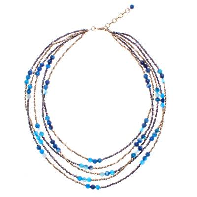Blue Agate Beaded Strand Necklace from Thailand