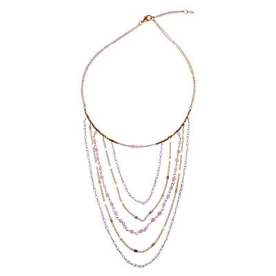 Gold Accented Moonstone Beaded Strand Necklace from Thailand