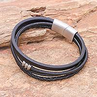 Leather cord bracelet, 'Free Spirited in Black' - Leather Cord Bracelet in Black from Thailand