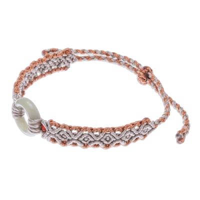 Jade and Chalcedony Macrame Pendant Bracelet from Thailand