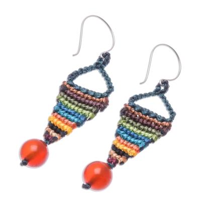 Rainbow Chalcedony Macrame Dangle Earrings from Thailand