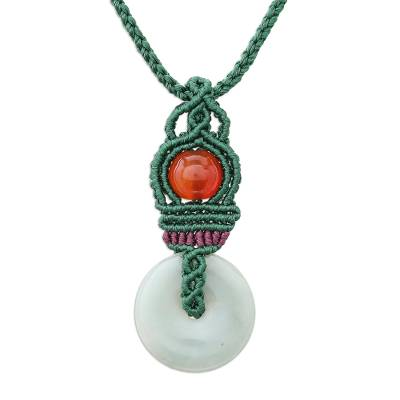Jade and Chalcedony Macrame Pendant Necklace from Thailand