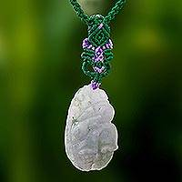 Jade macrame pendant necklace, 'Fortunate Rabbit' - Rabbit-Themed Jade Macrame Pendant Necklace from Thailand