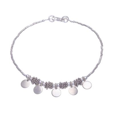 Circle Motif Silver Beaded Charm Bracelet from Thailand