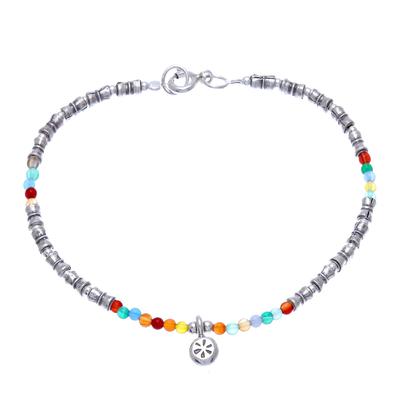 Karen Silver Chalcedony Beaded Bracelet from Thailand