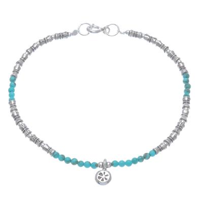 Reconstituted turquoise beaded bracelet, 'Karen Glee' - Karen Reconstituted Turquoise Beaded Bracelet from Thailand
